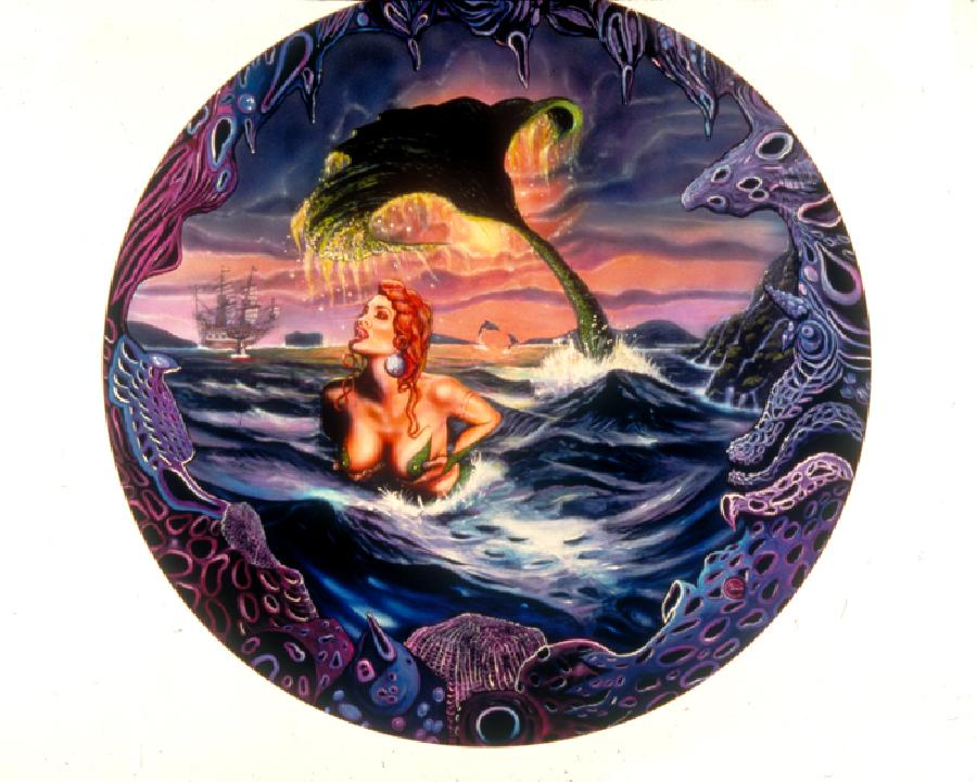 Siren Song. The original is in a private collection. This image is available on flat canvas prints or on gallery wrapped embellished canvas prints fit for a museum. <br />*Note-Contact artist for pricing if interested in gallery wrapped art.
