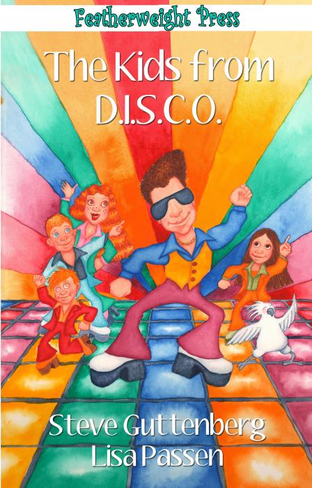 STEVE GUTTENBERG & LISA PASSEN. The Kids From D.I.S.C.O By Steve Guttenberg and Lisa Passen<br />Release date Sept 2014<br /> <br />Four average kids from Las Vegas, Nevada become the funky superhero team, The Kids from D.I.S.C.O., led by their groovy uncle Disco Man and his pet Cockatoo sidekick, Polly Esther.<br /><br />Carly, Jenny, Danny, and Jack are four average kids from Las Vegas, Nevada who stumble upon the secret headquarters of their groovy superhero uncle, Disco Man, and his pet Cockatoo sidekick, Polly Esther. They are transformed into the funky superhero team, The Kids from D.I.S.C.O.. The junior crime-fighters begin a series of adventures that are amazing, astounding, terrifying, and totally groovy.<br /><br />Something big is about to blow into town and his name is Melvis Pelvis, the baddest bad guy ever. It`s up to The Kids from D.I.S.C.O. to save the day. The Kids from D.I.S.C.O. is a fun and energetic story filled with funky adventures where Disco always rules.<br /><br />Available in print and e-book at Amazon, Barnes & Noble, Featherweight Press Store.<br />http://www.amazon.com/The-Kids-D-I-S-C-O-Steve-Guttenberg/dp/1608209385<br /><br />http://www.barnesandnoble.com/w/the-kids-from-disco-steve-guttenberg/1119607396?ean=9781608209385<br />