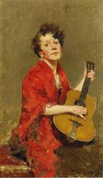 Girl with Guitar - William Merritt Chase