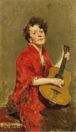 Girl with Guitar - William Merritt Chase