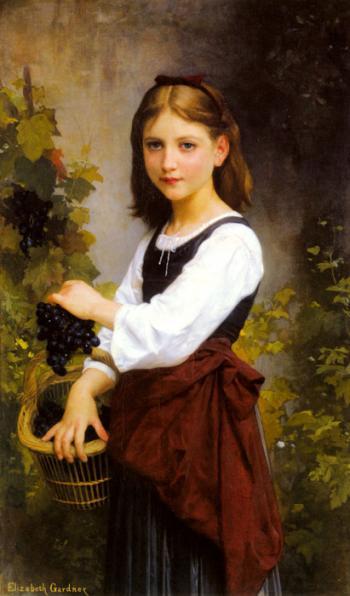 A Young Girl Holding A Basket - Elizabeth Bouguereau