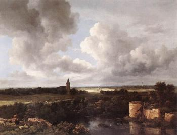 An Extensive Landscape with a Ruined Castle and a Village Church - Jacob Izaaksoon van Ruisdael