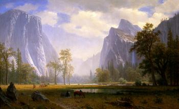 Looking Up The Yosemite Valley - Albert Bierstadt