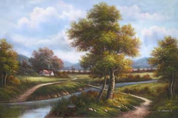 House by the stream - Decorative Classic Landscapes