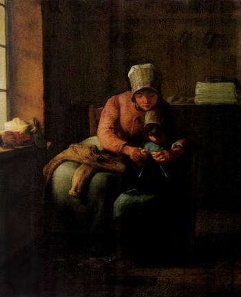 Knitting Lesson - Jean François Millet