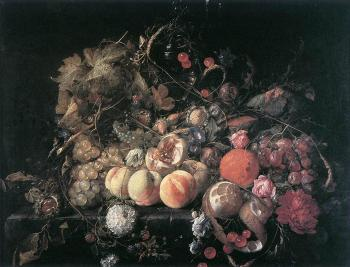 Still Life With Flowers And - Cornelis de Heem
