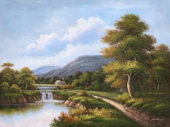 A Bridge over a Stream - Decorative Classic Landscapes