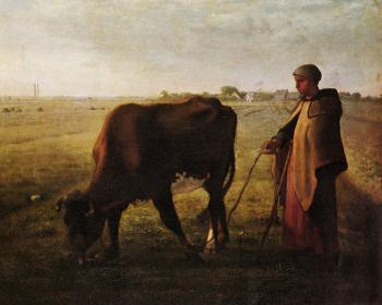 Woman Pasturing Her Cow - Jean François Millet