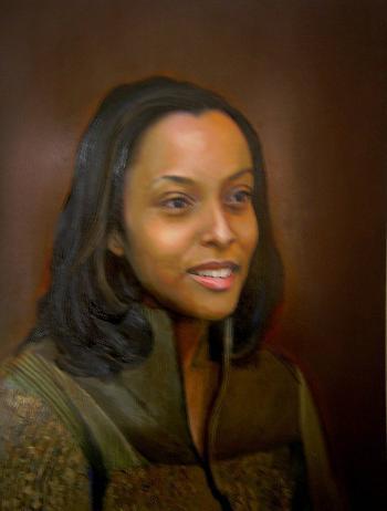 Oil Paint Portrait of Artists Wife - Merrill Kazanjian