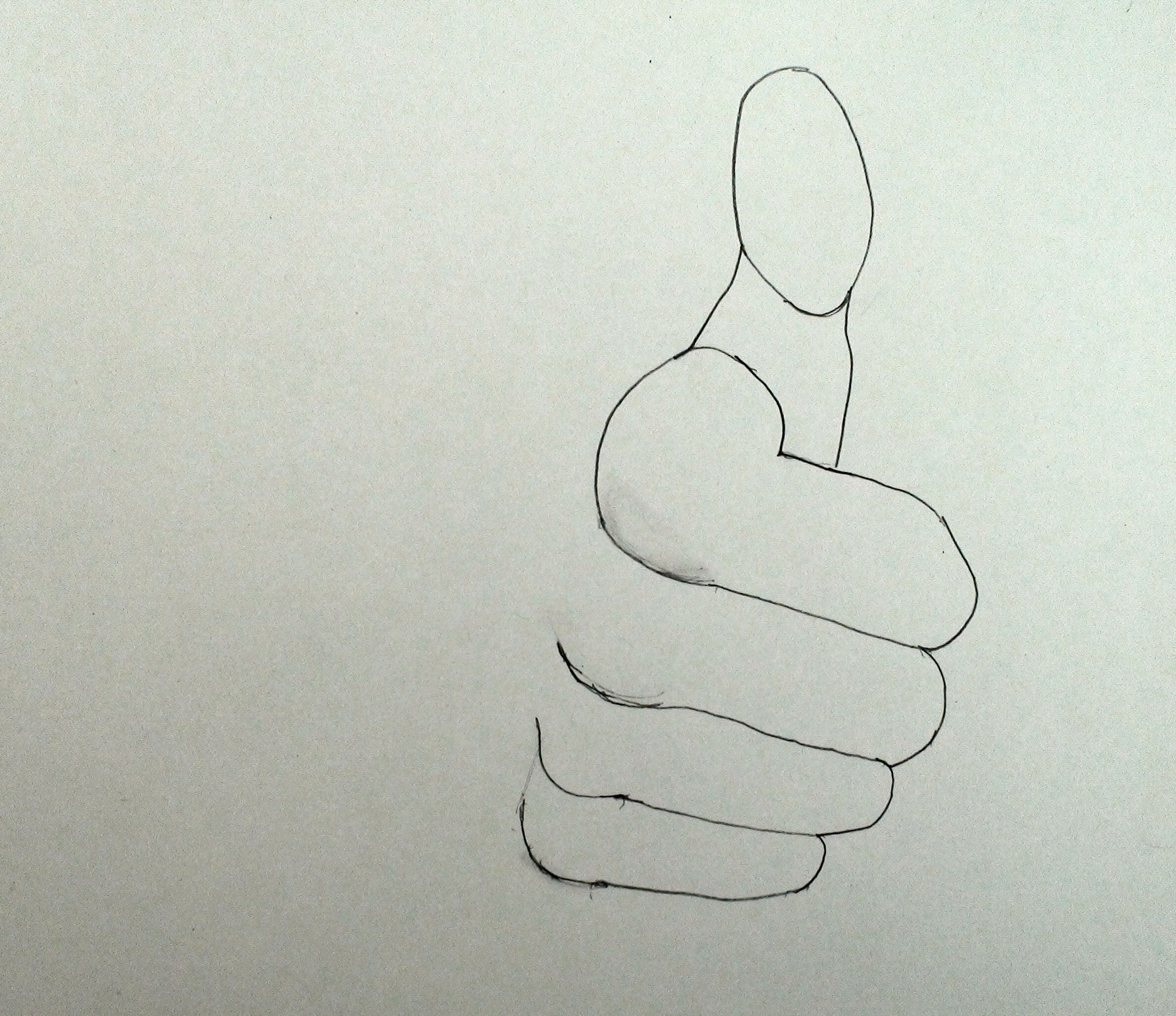 Step by Step thumbs up how to draw hand 5