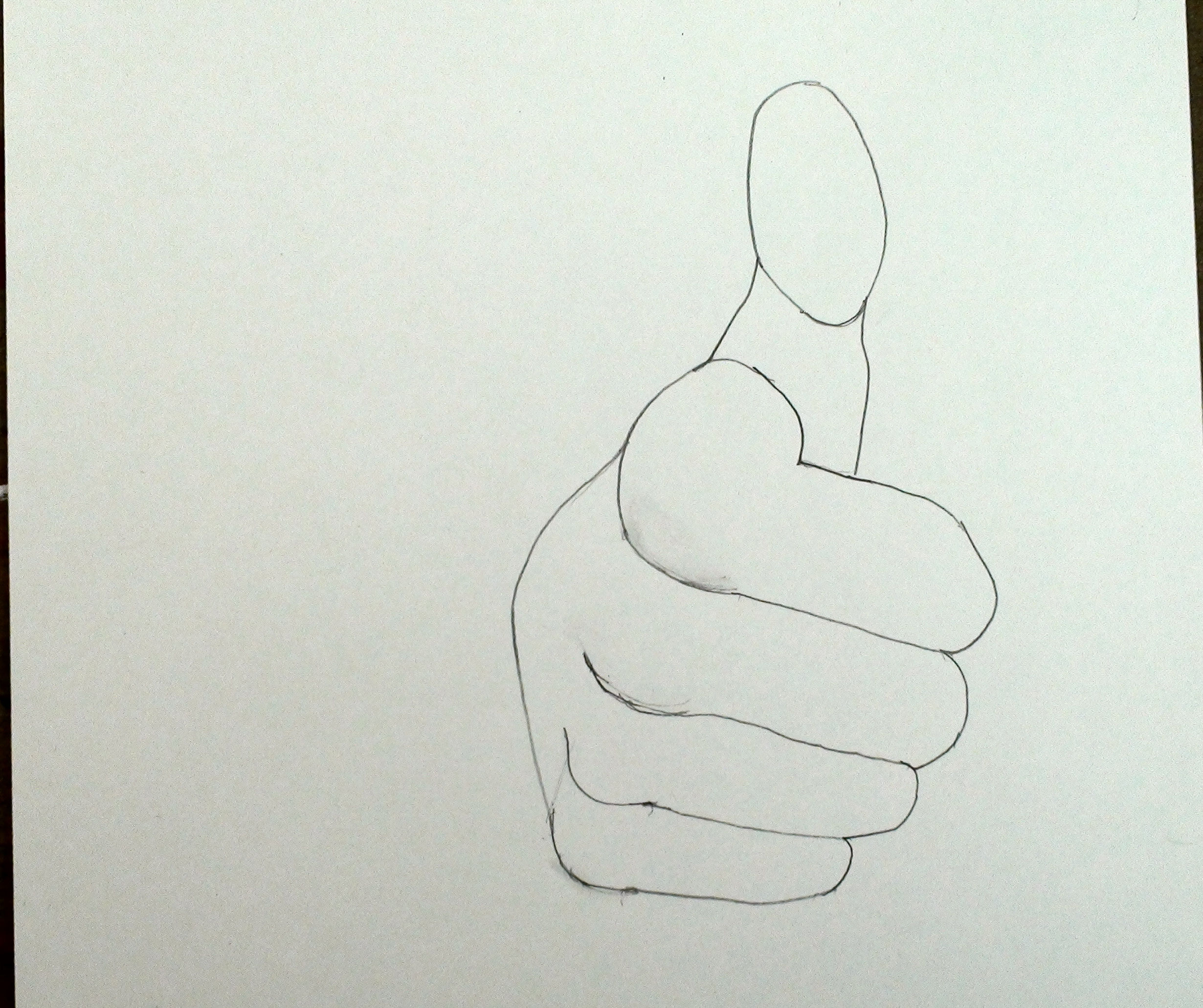 Step by Step draw hand thumbs up 6
