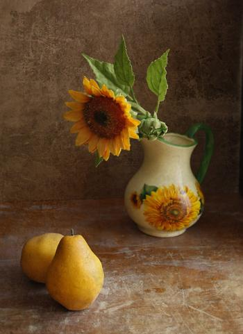 Pears and Sunflower - Natalia Kozlovtseva
