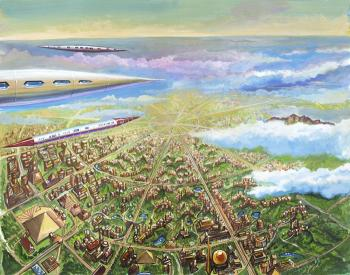 Vailx airships over the Capital of the continent of Atlantis - David Martine