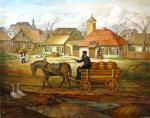 Work in the village #BD1041  (Boris Dubrov) - Jewish Life