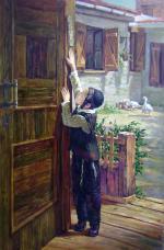 Kissing the Mezuzah #BD1016  (Boris Dubrov) - Jewish Life