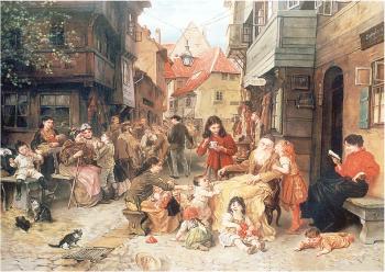 Old Shtetel #7571   (Ludwig Knaus) - Jewish Life