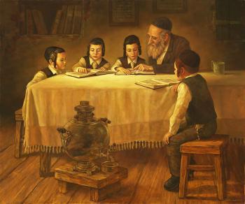 Kids At Table #BD1008  (Boris Dubrov) - Torah Learning