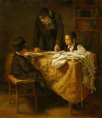 Rabbi Teaching the Boys  #BD1005    (Boris Dubrov) - Torah Learning