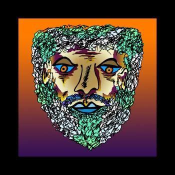 Bearded Man - color 1 Black Border - Fred Kelly
