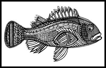 Black Bass (Fish- 10) Blk & White