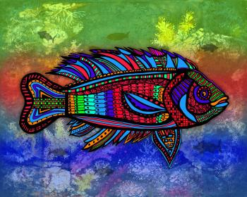 Blackfish (Fish8 - color 6-painting) - Fred Kelly