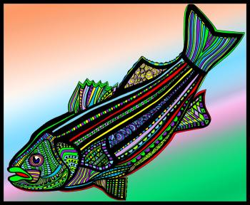 Striped Bass (Fish9-color 4) - Fred Kelly