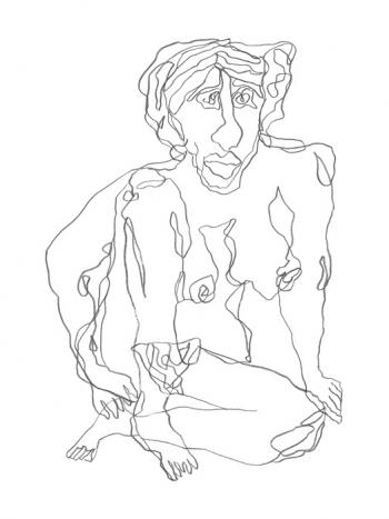 Female-2 - blind contour drawing-BLK & White