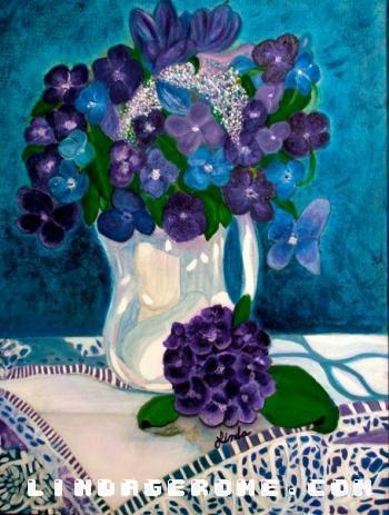 Floral Vase on Lace - Linda Gerome
