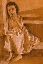 A Girl Sitting on Steps - Lisa Rego
