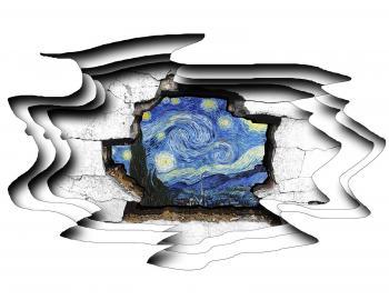 Cracked Wall Starry Night - Nadia Mierau
