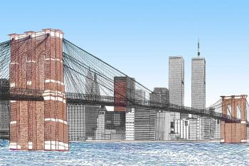 The Brooklyn Bridge with Twin Towers - Vincent Hall