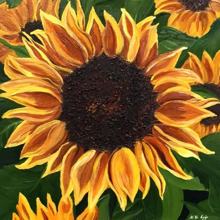 Flaming Sunflower - Original Paintings