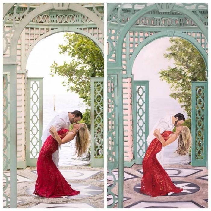 Red Dress Engagement - Original Paintings