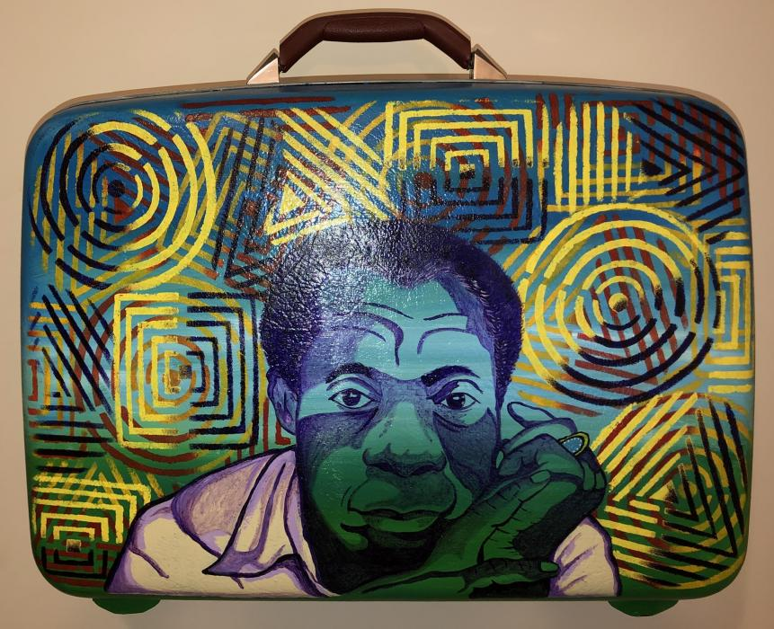 James Baldwin (vintage luggage-contact artist for pricing).