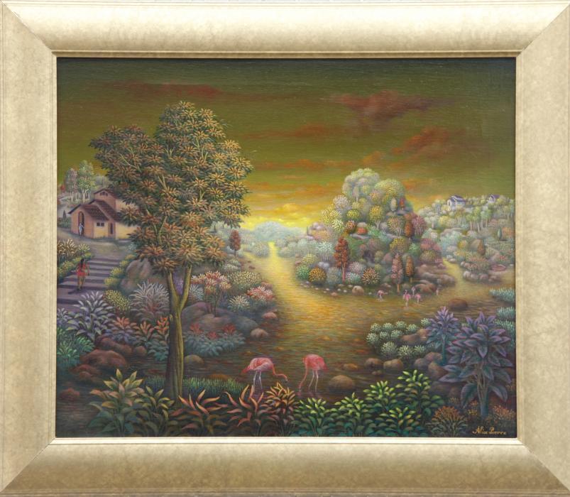 "Thirsty Flamingos (20""x24"") Oil on Canvas - Alix Pierre"
