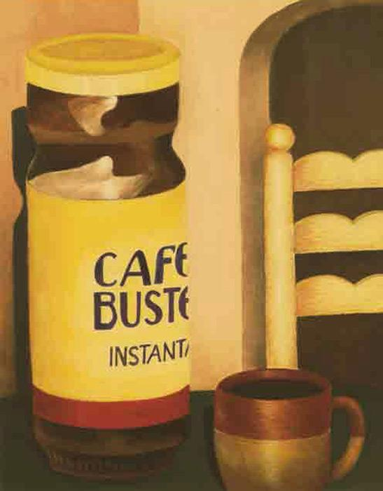 BUSTELLO CAFE (12x16) Acrylic on Board (2006) - Alix Pierre