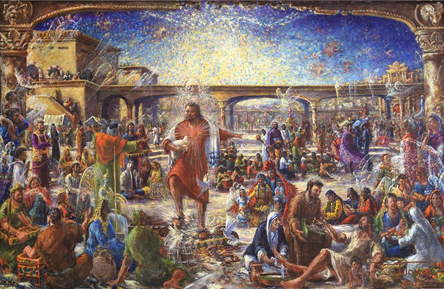 Christ the teacher cleansing the temple with name. <p>inspired by the words and actions of Pope Francis this painting is of Christ as a man who declared a Truth that the culture had forgotten.</p>