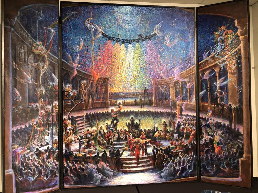 Devine Guidance. <p>`Illumination, Devine Guidence of Humanity Through the Arts` This painting explores the relationship of humanity to the Cosmos as being a mystical one. Artists of all disciplines ,while presenting their practiced crafts, mysteriously illumine humanity who are pictured sitting in the proverbial dark.</p>