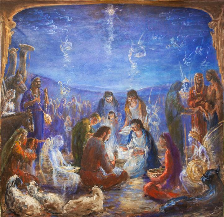 Nativity. Left Panal of Tryptch `My kingdom is not of this world`