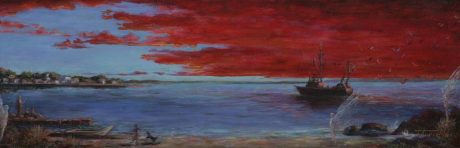 Entering Port. Entering Port / 2002 / Acrylic on Canvas / 16 x 48 inches / $2500