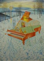 A red Piano in the Snow or The Forgiveness of Salieri, 2011