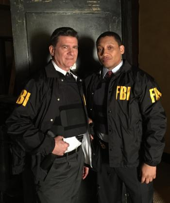 On the set of Blue Bloods with Khalil Kain - photos of Dennis Gagomiros