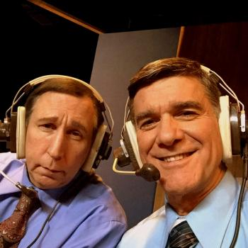 as Frank Gifford with Rick Crom as Howard Cosell on the set of The Lennon Report - photos of Dennis Gagomiros