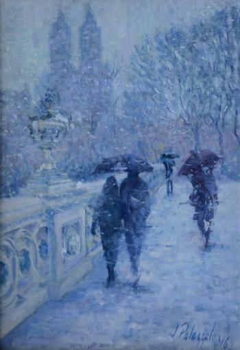 Central Park, Bow Bridge In Winter - Joseph Palazzolo