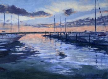 Sunset, Three Mile Harbor at Gann Road, East Hampton, NY - Joseph Palazzolo