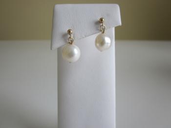 White Cultured Pearl Dangle Earrings - Earrings