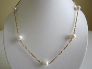 10mm White Freshwater Cultured Pearl Station Necklace - Necklaces