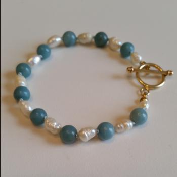 Amazonite & White Freshwater Pearl Bracelet - Bracelets