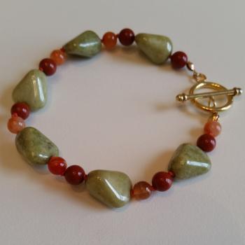 Vintage Tumbled Green Riverstone Red Jasper & Carnelian Bracelet - Bracelets