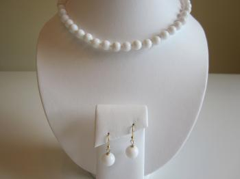 White Jade Necklace & Earrings - Necklace & Earrings Sets